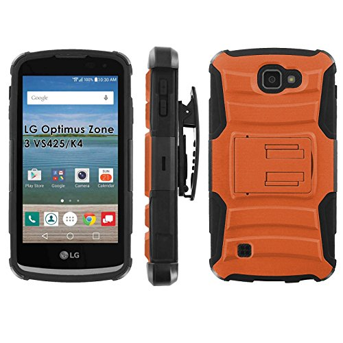 LG Optimus Zone 3 VS425 | K4 Phone Cover, Burnt Orange- Black Blitz Hybrid Armor Phone Case for [LG Optimus Zone 3 VS425 | K4] with [Kickstand and Holster]