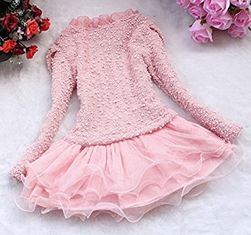 Meidx Baby Big Girls 3 Piece Cardigan Clothes Kids Tutu Dress Outfit Clothing Princess Dresses, Pink, size 6T/5-6 Years