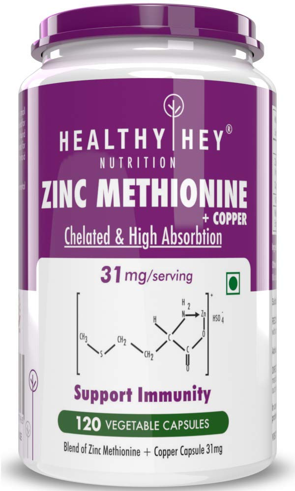 Healthyhey Nutrition Zinc Methionine Plus Copper, Supports Immune and Antioxidant Protection - 120 Veg Capsules