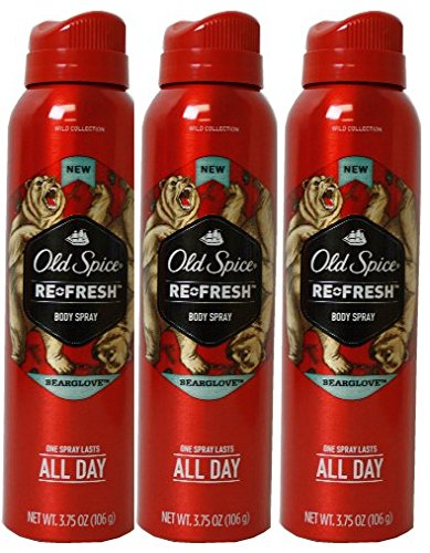 Old Spice, ReFresh Body Spray, Bearglove - 3.75 oz (3 pack) (Old Spice Refresh compare prices)