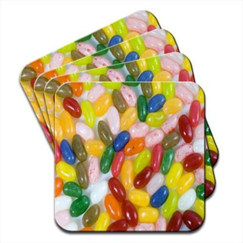 Multi Flavoured Jelly Beans Red, Green, Pink, Blue Set Of 4 Coasters