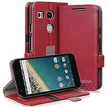 Vena [vFolio] Google Nexus 5X Case - Vintage Genuine Flip Leather Wallet Stand Cover with [Card Pockets] for Google Nexus 5X (Red/Black)