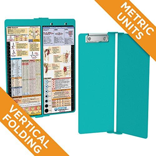 WhiteCoat Clipboard - Vertical - Teal - Metric Nursing Edition - Clipboard Fold In Half