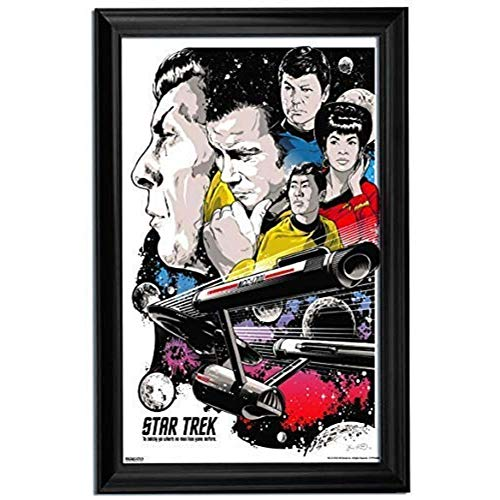 - Star Trek Wall Art Decor Framed Print | 24x36 Premium (Canvas/Painting Like) Textured Poster | Spock & Gorn Next Generation Nerd Collectible for The Walls | Memorabilia Gifts for Guys & Girls Bedroom