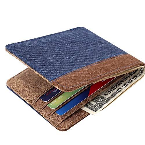 Men Boys Canvas Short Wallet Card Holder Case Patchwork Purse Hangbag Coin Holder Pouch Case Beaums