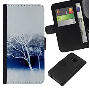 KingStore / Leather Etui en cuir / HTC One M9 / Invierno ?rboles blancos Nieve Bosque Naturaleza Savannah