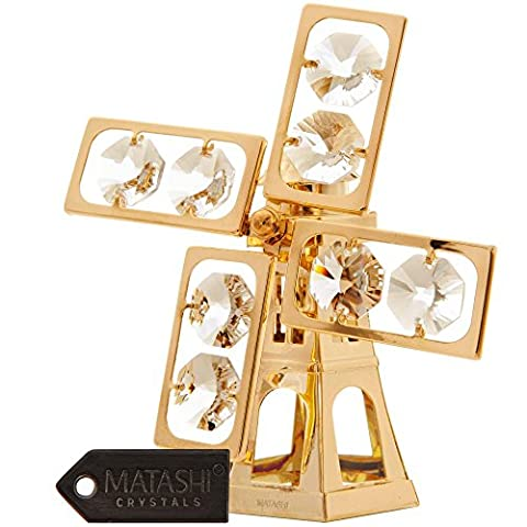 24K Gold Plated Crystal Studded Windmill Ornament by Matashi - Studded Revolution