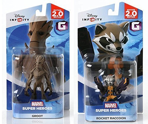 Marvel Universe Xbox 360 - Disney INFINITY Marvel Super Heroes (2.0 Edition) - Groot and Rocket Raccoon Figures from Guardians of the Galaxy Bundle by Disney Infinity