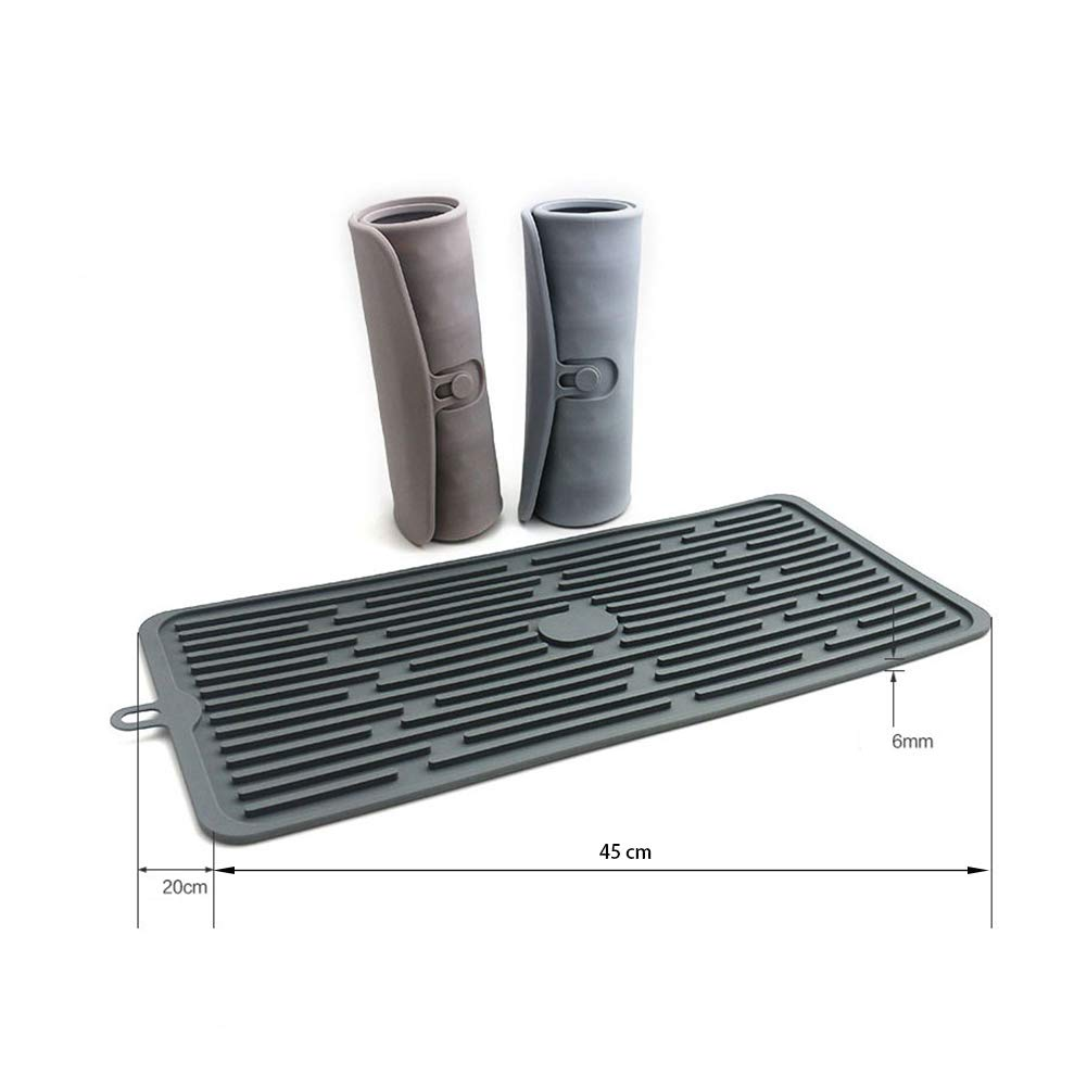 Gris, 45 x 20 x 0.6cm Alfombrilla Escurreplatos de Silicona para Encimera Cocina 45x40cm//45x20cm Tapete para secado escurridor salvamanteles para secar cubiertos y vajilla