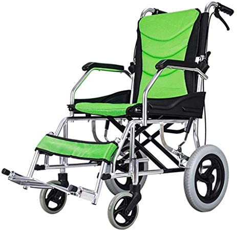 WZB - Wheelchair Rollstuhl mit Eigenantrieb, Zusammenklappbares Mobilgerät, Rollstuhl für Innen- und Außenaktivitäten Leichtgewichtler, Behindertengerecht, Grün