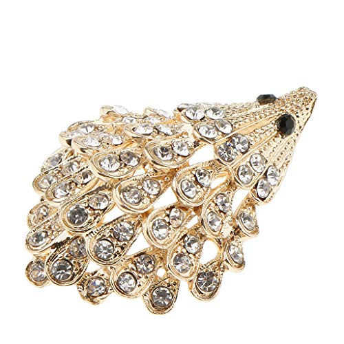 Black Rhinestone Eyed Crystal Cover Hedgehog Shape Brooch Pin Animal Corsage | Color - Gold -