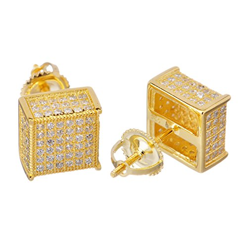 Sterling Silver Iced Out 14k Gold Plated 9mm 3D Block Square Screw Back Stud Earrings SHS 407 G (Block Earrings For Men)
