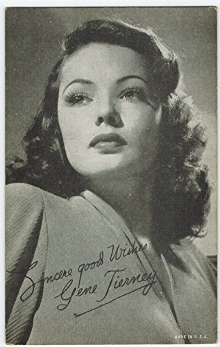 Exhibit Gene Tierney Arcade Card: BW 1940s (13mm MADE IN U.S.A.) Series
