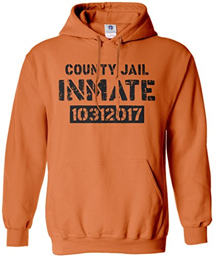 Threadrock County Jail Inmate Halloween Costume Unisex Hoodie Sweatshirt L -