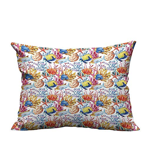 YouXianHome Zippered Pillow Covers Coral Reef Scallop Shells Fish Figures Sea Plants Polyp Murky Nautical Decor Decorative Couch(Double-Sided Printing) 19.5x30 inch