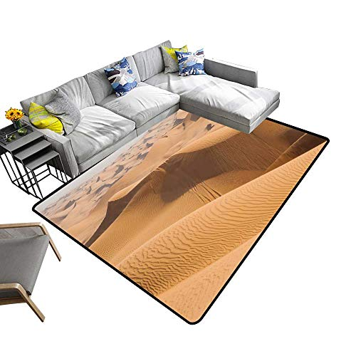 Abstract Design Area Rug Sand Dunes in Dubai Desert with car Path After Offroad Safari Add Fashion to Room's Decor 2' X 4'