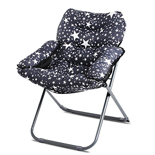 Black Star Folding Chair / Fabric Lounge Chair Sofa Chair / Single Folding Chair / Simple Computer Chair / Bedroom Folding Chair / Living Room Lounge Chair /Black fabric lounge chair by Folding Chair