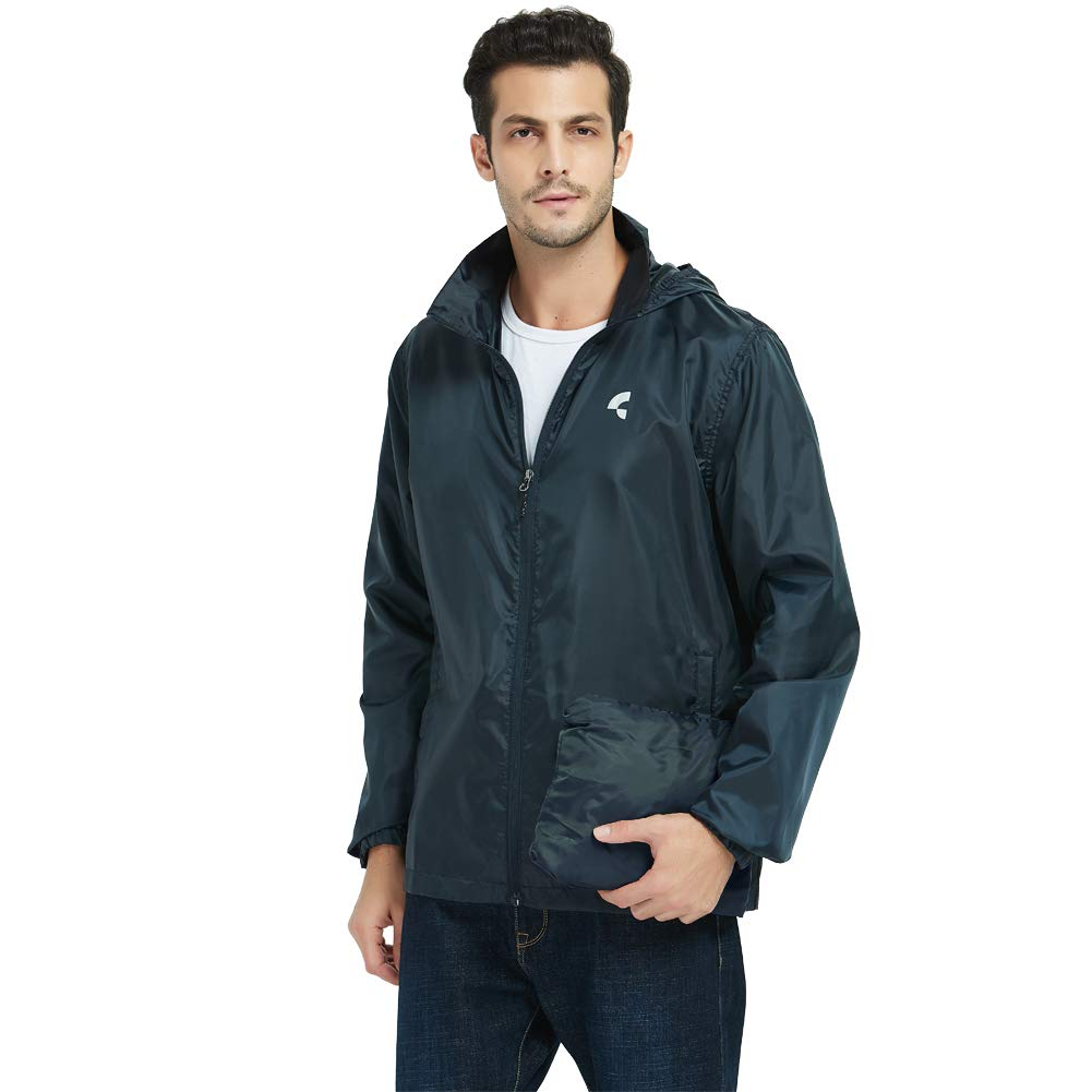 Somewell Men's Front-Zip Hooded Rain Jacket, Outdoor Windbreaker Raincoat, Navy L by Somewell