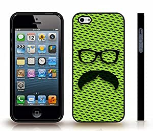 iStar Cases? iPhone 5/5S Case with Handlebar Mustache with Retro Glasses on Lime Background w/mustaches , Snap-on Cover, Hard Carrying Case (Black)