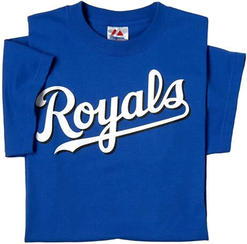 Kansas City Royals (ADULT XL) 100% Cotton Crewneck MLB Officially Licensed Majestic Major League Baseball Replica T-Shirt Jersey