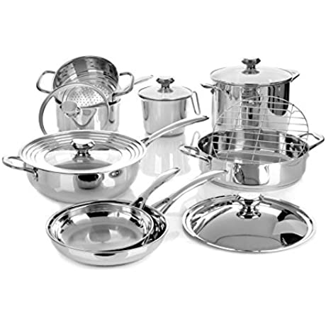NEW REboxed Wolfgang Puck Bistro Elite 14 Piece Stainless Cookware Set