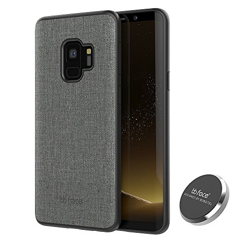 bb face Galaxy S9 Case, Fabric texture PU leather Protective Phone Case Back Cover TPU Bumper Back Skin Hard Case With Built-in metal sheet and Magnet car Holder For Samsung Galaxy S9 5.8