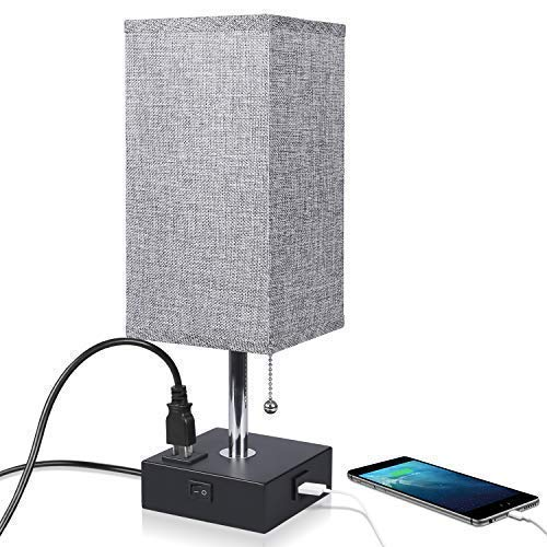 (Nightstand Lamp Built in USB Charging Port & Power Outlet, Grey Square Fabric Shade & Modern Table Lamp-Great for Living Room Bedside Nightstand Light(Black Base))