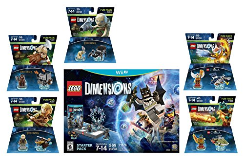 Lego Dimensions Starter Pack + The Lord Of The Rings Legolas Gimli Gollum + Legend Of Chima Eris & Cragger Fun Packs for Nintendo Wii U Console by WB Lego