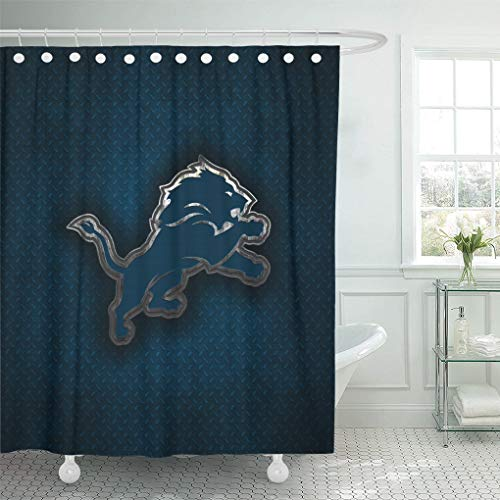 Ladble Decor Shower Curtain Set with Hooks Detroit City Lions Detroit Michigan Creative Art Emblem Blue Metal Background Football 72 X 72 Inches Polyester Waterproof Bathroom