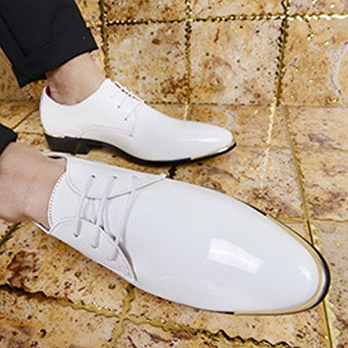Lunghe Mocassini Maniche Lace White di Shopping Easy a Go PU Oxford Classic Liscia in Scarpe Pelle up da Pelle Scarpe Uomo HZRCRWq