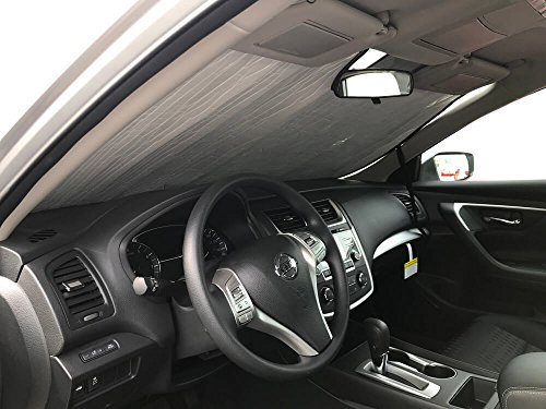 The Original Windshield Sun Shade, Custom-Fit for Nissan Altima Sedan 2013, 2014, 2015, 2016, 2017, 2018, Silver Series