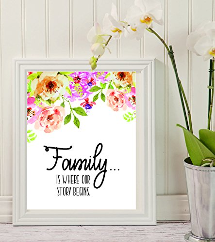 Housewarming gift - Family is where our story begins - gifts for women - Room decor - wall decals quotes -Wedding decor - flower wall art - inspirational quotes - Wedding family quote printable