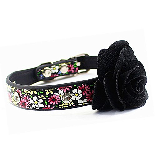 Pesco Fashion Plover Style Rhinestone Black Floral Pet Collars Diamond Fineness Dog Collar (Black Flower, Small)
