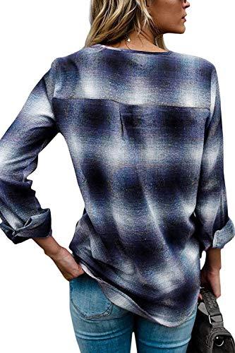 Automne Manches Blouse Shirt Chemise Manche Longue Costume Haut Croises Dcontract Blau Carreaux Vintage Chic Cou Sangles Printemps Fashion Long Femme Elgante Dame V Tops avec Large Y1qPw