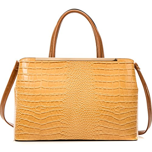 Women Leather Tote Briefcase Laptop Tablet Bag Large Handbag w/Removable Shoulder Strap Tan Croc Textured