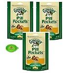 Hot Spot GREENIES Pill Pockets Soft Dog Treat Snacks, 3 Pack – 7.9 OZ Capsules Bundle Pets Travel Bowl (Chicken)