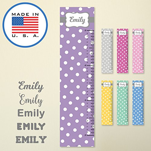 321Done Personalized Hanging Growth Chart, White Polka Dots on Lavender Purple with Name, Height Ruler Measurement, Vinyl Banner Nursery Wall Decor Baby, Made in USA by 321Done