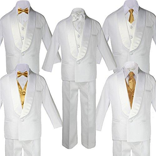 5-7pc Kid White Satin Shawl Lapel Suits Tuxedo GOLD Bow Necktie Vest Sm-20 (2T, (7pc)Suit Set Add Vest & Bow ()