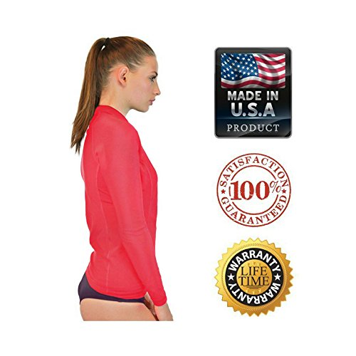 Swim Shirt For Women - Long Sleeve Rash Guard Top With UV 50 Skin / Sun Protection, Workout Shirt., Made In USA! (Salmon, 4XL)