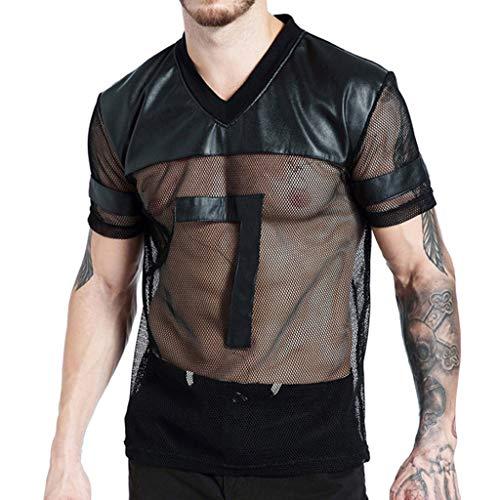 Farmerl Men's Mesh See-Through Sexy V-Neck Short Sleeve Sport T-Shirt Top Blouse Black ()