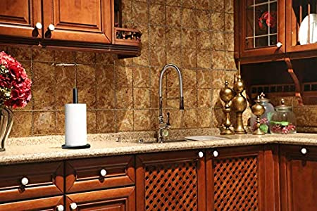 LUTAVOY Marble Paper Towel Holders Copper Plated Standing Paper Towel Holder KZ55