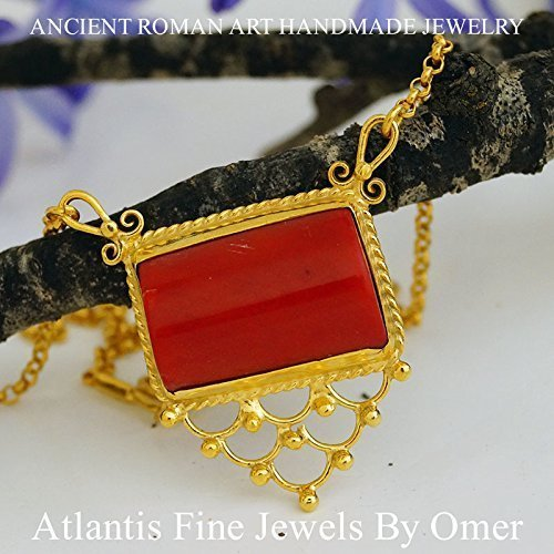 Coral Necklace 24k Yellow Gold Over 925k Silver By Omer Handmade 47 Cm