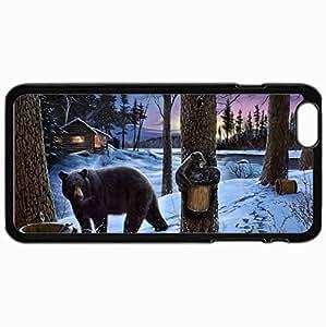 Fashion Unique Design Protective Cellphone Back Cover Case For iPhone 6 Plus Case Bear Black