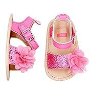 Carter's Girls' Strap Flat Sandal, Pink Sugar Glitter and Plume, 0-3 Months, Size 1 Regular US Infant