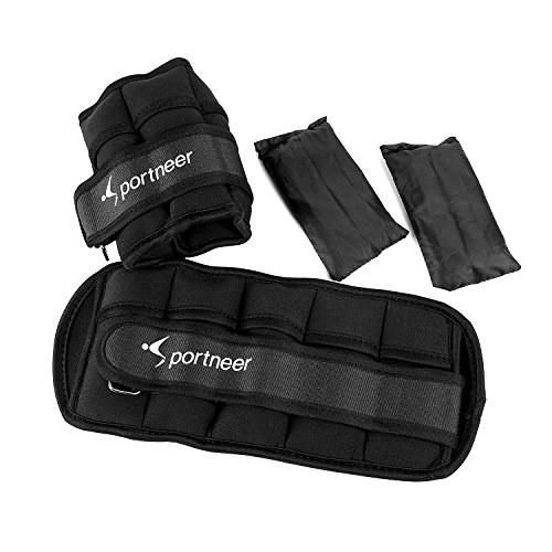 Sportneer Adjustable Ankle Weights Set, Ankle Wrist Weight Straps, 1 lbs to 7 lbs, 2 Pack, Black