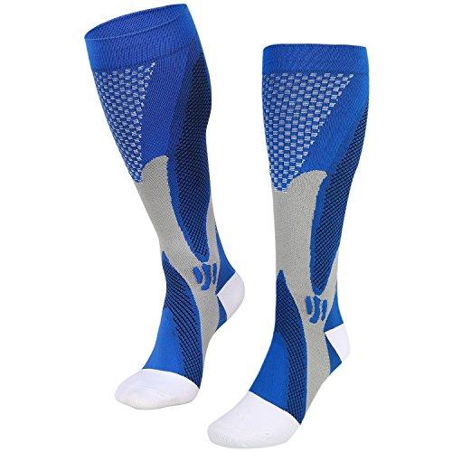 Compression Socks for Men Women, VEY Premium Design for Everyday Use, Running, Pregnancy, Flight, Travel, Nursing. Boost Stamina, Circulation (S/M, Blue)