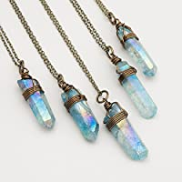 Raw light blue angel aura quartz point antique bronze chain pendant necklace 22 in