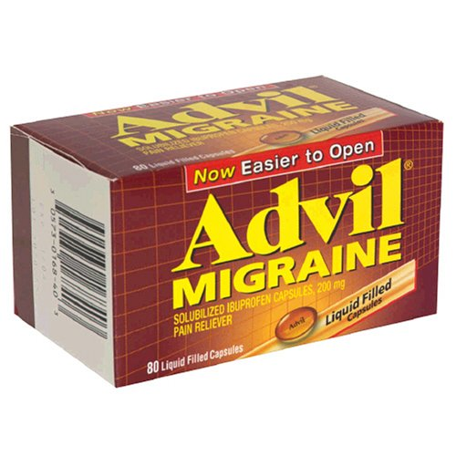 20 Liquid Capsules - Advil Migraine Pain Reliever Liquid Filled Capsules 200mg Ibuprofen 20mg Potassium Migraine Treatment, 80 Count