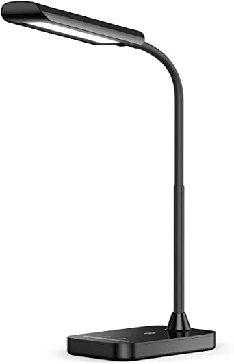 TaoTronics LED Desk Lamp, Flexible Gooseneck Table Lamp, USB Charging Port, 5 Color Temperatures with 7 Brightness Levels, Touch Control, Memory Function, 7W, Official Member of Philips EnabLED Licensing Program