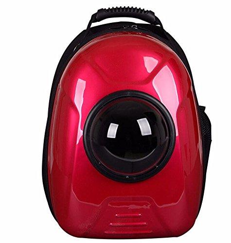 Kapselförmige PET-Träger atmungsaktive PET-Rucksack für Hund draußen Reisen Portable Frauen Katze Cartoon Taschen Heimtierbedarf, Rot, mit Spurstangen